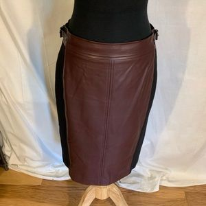 Ann Taylor oxblood faux leather paneled skirt. 8